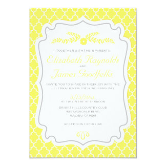 Yellow Quatrefoil Wedding Invitations