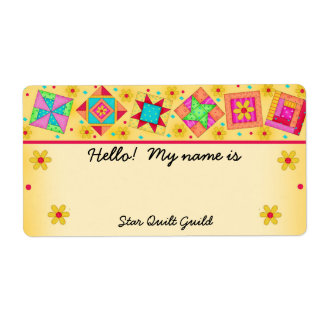 Yellow Quilt Blocks Quilters Name Tag Shipping Label