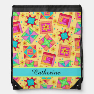 Yellow Quilt Patchwork Block Art Name or Monogram Drawstring Bag