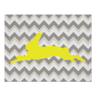 Yellow Rabbit Silhouette on Chevron Stripes Poster
