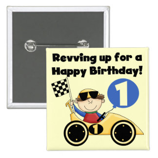 Yellow Race Car 1st Birthday T-shirts and Gifts 2 Inch Square Button
