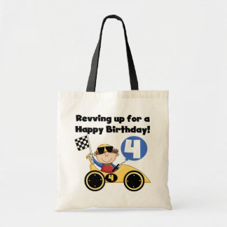 Yellow Race Car 4th  Birthday Tshirts and Gifts Tote Bag