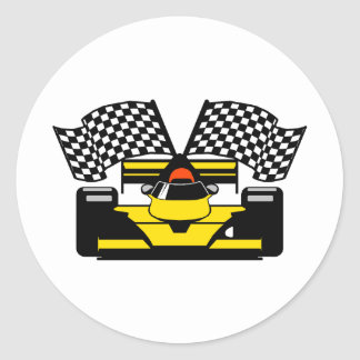 YELLOW RACE CAR CLASSIC ROUND STICKER