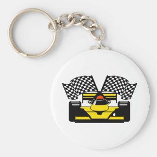 YELLOW RACE CAR KEY CHAINS