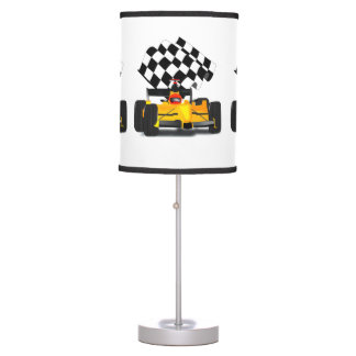 Yellow  Race Car with Chequered Flag Table Lamp