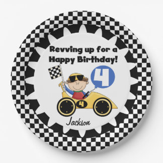 Yellow Racing Car 4th Birthday Paper Plates 9 Inch Paper Plate