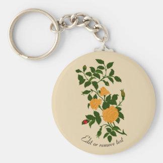Yellow Rambling Rose with Ladybug Keychain