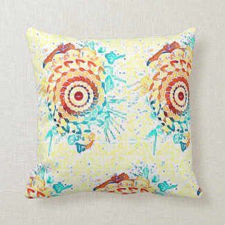 Yellow random art design pillow