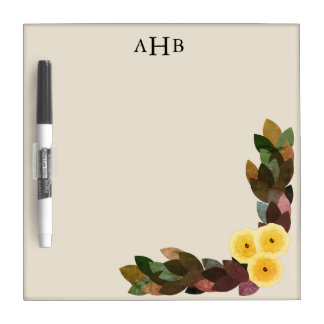 Yellow Ranunculus Flowers & Leaves Initial Letters Dry Erase Board