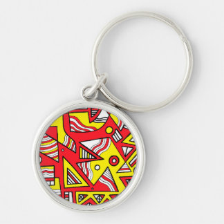 Yellow Red Abstract Silver-Colored Round Keychain