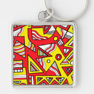 Yellow Red Abstract Silver-Colored Square Keychain