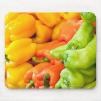Yellow, red and green pepper on sale at farmer's mouse pad