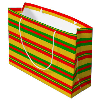 Yellow, Red and Green Stripes of Benin 2 Large Gift Bag