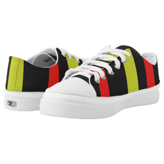 Yellow red black line pattern Low-Top sneakers