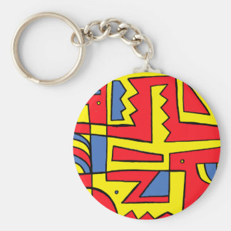 Yellow Red Blue Abstract Basic Round Button Keychain