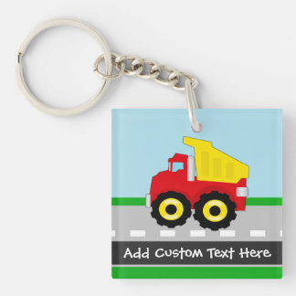 Yellow/Red Boys Dumptruck Construction Double-Sided Square Acrylic Keychain