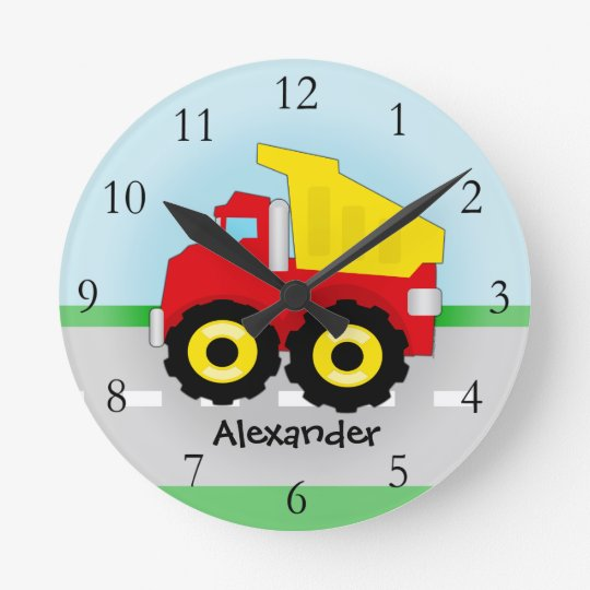 Yellow/Red Boys Dumptruck Construction Round Clock