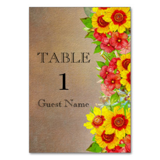 Yellow Red Floral on Brown Reception Place Card