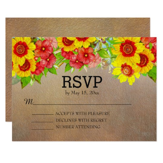 Yellow Red Floral on Brown Wedding RSVP Card