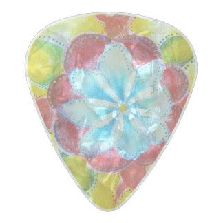 Yellow Red Mandala Watercolor Drawing Guitar Pick Pearl Celluloid Guitar Pick