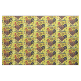 Yellow Red Rooster Chicken Tiled Folk Art Fabric