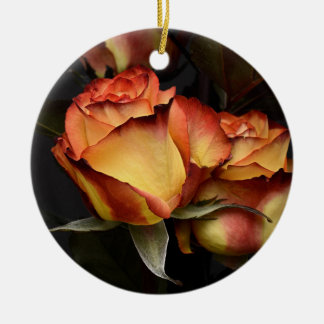 Yellow Red Rose Ceramic Ornament
