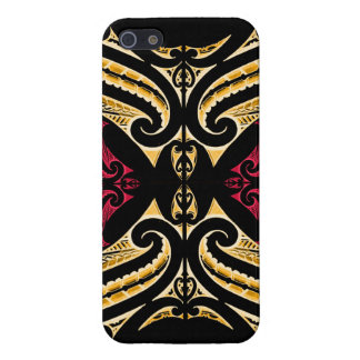 Yellow Red tribal Maori tatau drawing polytat Cover For iPhone 5/5S