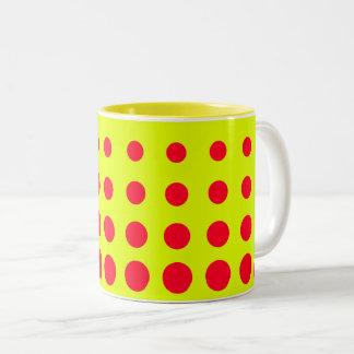 Yellow & Red  Vector abstract dot Two-Tone Coffee Mug