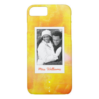 Yellow & Red Watercolor | Add Photo iPhone 8/7 Case