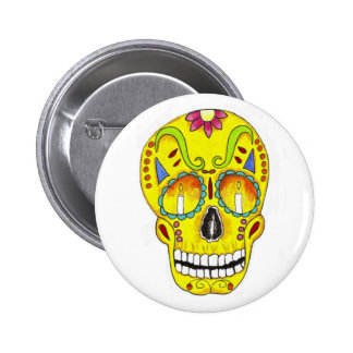 Yellow Remembrance Sugar Skull 2 Inch Round Button
