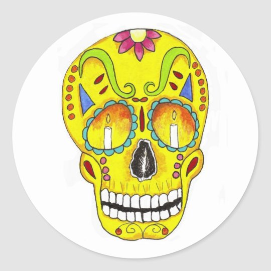 Yellow Remembrance Sugar Skull Classic Round Sticker