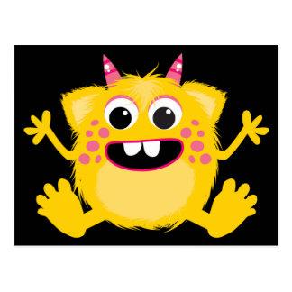 Yellow Retro Cute Monster Postcard