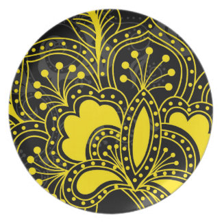 Yellow Retro Floral Design On Black Plate