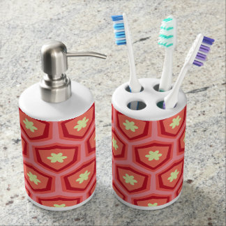 Yellow retro floral sunshine soap dispenser and toothbrush holder