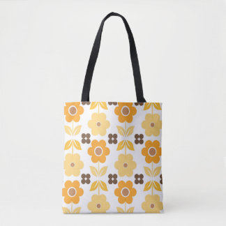 Yellow Retro Flowers All-Over-Print Tote Bag