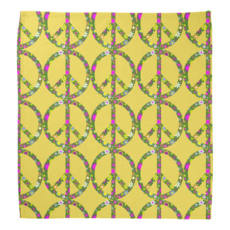 Yellow Retro Flowers Peace Sign Bandanna