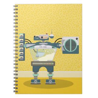 Yellow Retro Robot Notebook