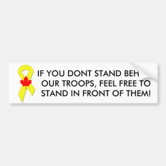 Yellow_Ribbon, 562px-Canada_Maple_Leaf_svg, IF ... Bumper Sticker
