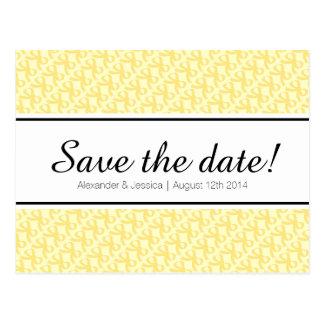Yellow ribbon bow print save the date postcard