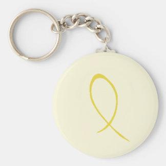 Yellow Ribbon Customizable Keychain