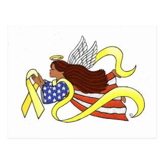 """Yellow Ribbon "" Ethnic Patriotic Angel Post Card"