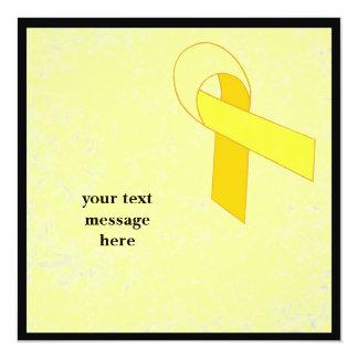 """yellow ribbon event 5.25"""" square invitation card"""