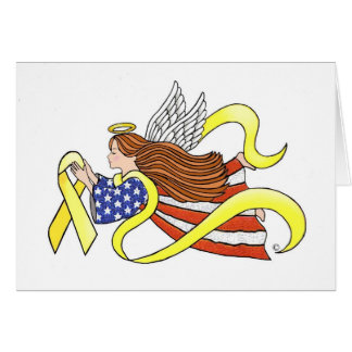 Yellow Ribbon Parriotic Angel Card