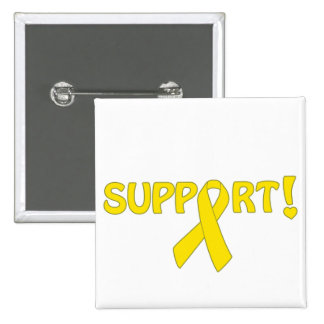 Yellow Ribbon Support! 2 Inch Square Button