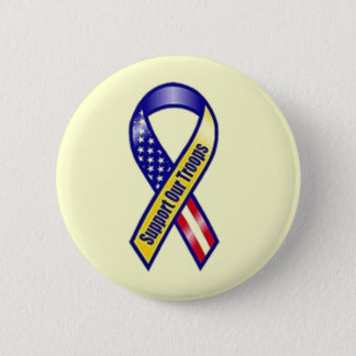 Yellow Ribbon Support our Troops 2 Inch Round Button