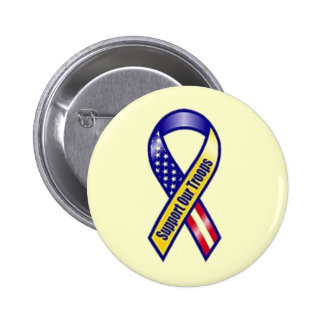 Yellow ribbon: Support our Troops Pinback Buttons