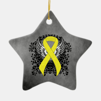 Yellow Ribbon with Wings Ceramic Star Ornament