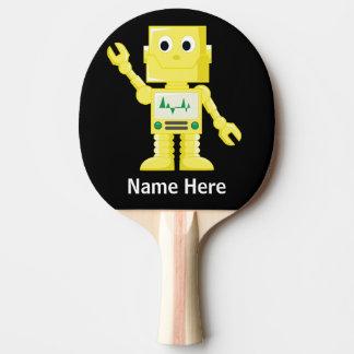 Yellow Robot Ping Pong Paddle