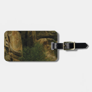 yellow rock face with trees luggage tag