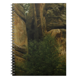 yellow rock face with trees notebooks